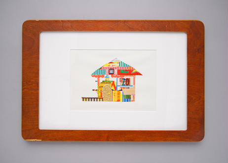 "Framed collage art work by Takaharu Shimizu, 清水貴栄コラージュ作品 ""House"" from toto ""windy"""