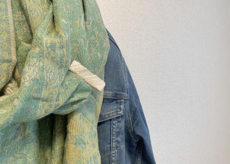 ストライプビーズ刺繍ヘアクリップM〈グリーン〉