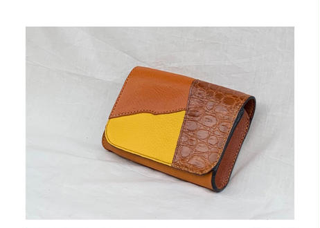 "Clutch bag ""yellow x brown mix"""