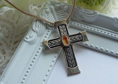 cro-s004 十字架柄のメノウのシルバー925の十字架ペンダントトップ