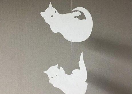 モビール「猫(空中立体反射/白)」