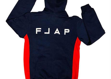 FLAP Fleece Hoodie   NAVY/RED