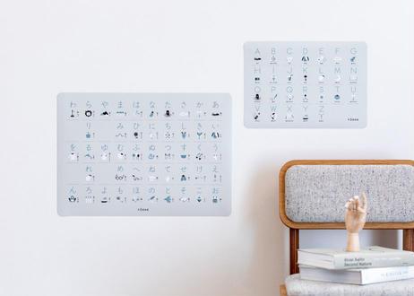 aiueo & abc illust poster【light gray】