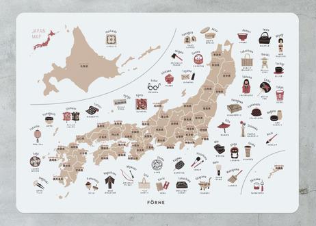 """【white】japan map &""""kuku""""  poster 日本地図・九九ポスター  お風呂に貼れる"""
