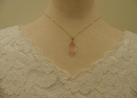 Rose Quarz Pendant Top (+Diamond)