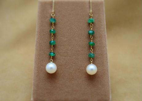 Emerald&AkoyaPearl Earrings