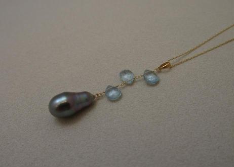 St.Aquamarine & Tahitian Pearl Design Pendant Top