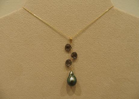 Black Rutilated Quartz & Tahitian Pearl Design Pendant Top