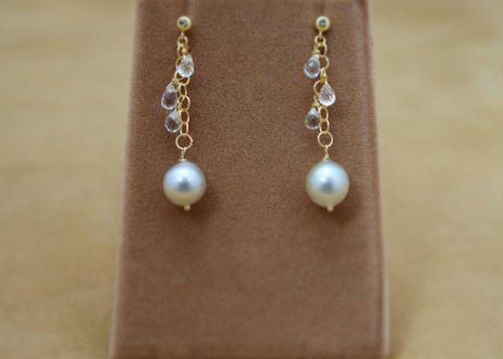 South Sea Pearl&White Topaz Earrings