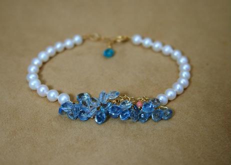 Aquamarine&Coral Prism Bracelet