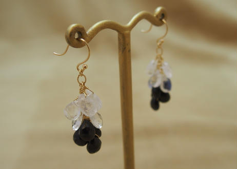 Royal Moonstone & Black Spinal Prisum Earrings
