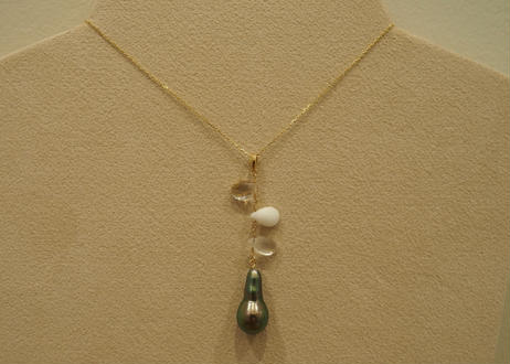 Color Stone & Tahitian Pearl Design Pendant Top