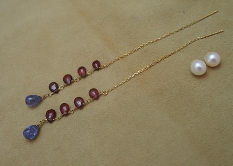 Garnet & Tanzanite Chain Earrings