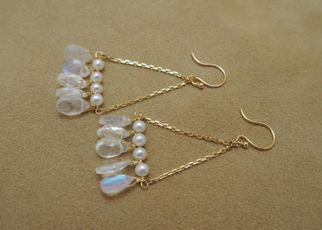 Royal Moonstone Chandelier Earrings