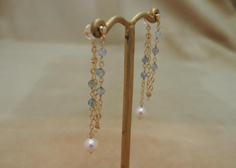 Pearl&Blue Zircon Design Earrings