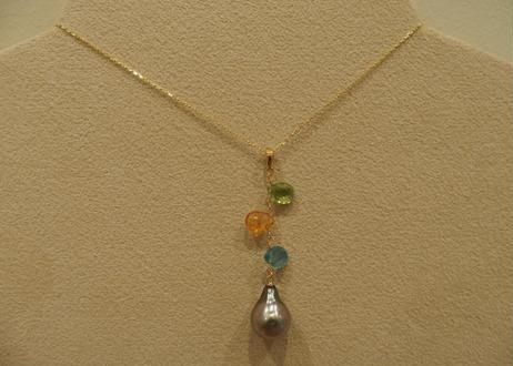 Color Stone & Tahitian Pearl Design Pendant Top(pd/og/ap)
