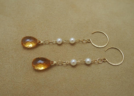 Citrine&Pearl Design Earrings