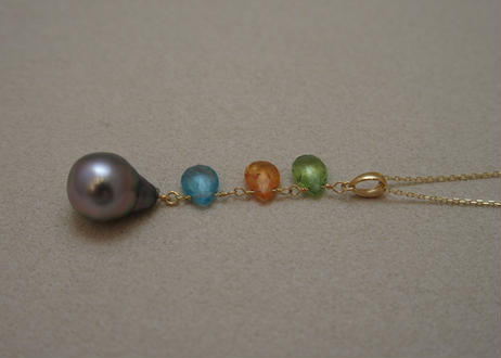 Color Stone & Tahitian Pearl Design Pendant Top(pd/og/ap)