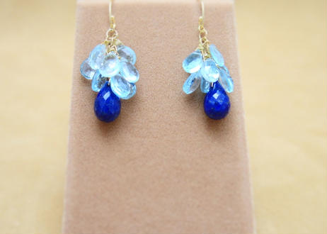 BlueTopaz&Lapis Chapeau Earrings