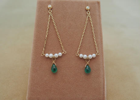 Emerald&Pearl Earrings