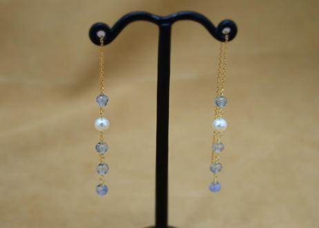 Sapphire&F.W.Pearl Chain Earrings(r/c)