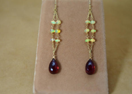 Opal&Garnet Design Earrings
