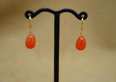 """Carnerian """"shizuku"""" Earrings"""