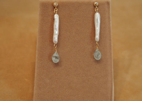 Milky Aquamarine&F.W.Pearl Earrings