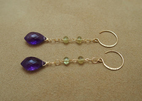 Amethyst & Green Garnet Design Earrings