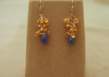 Orange Garnet & Tanzanite Chapeau Earrings