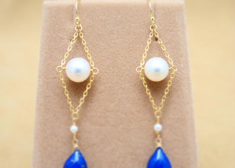Lapis&AKOYA Pearl Design Earrings