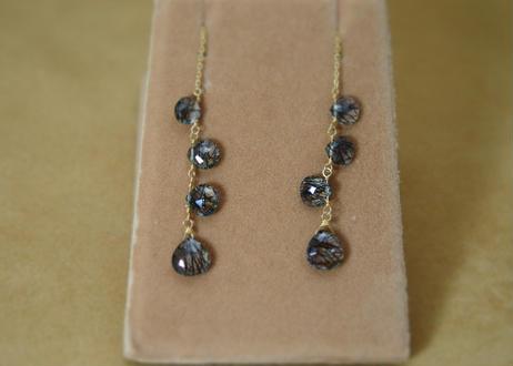 BlackRutilatedQuartz Chain Earrings(m/c)
