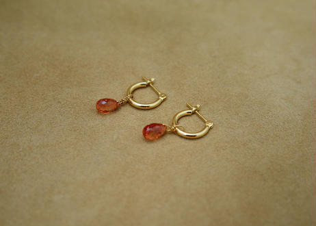 Orange Sapphire Earrings(hoop)
