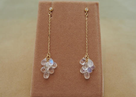 Royal Blue Moonstone Line Earrings(d/c)