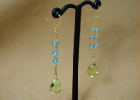 LemonQuartz&Apatite Design Earrings