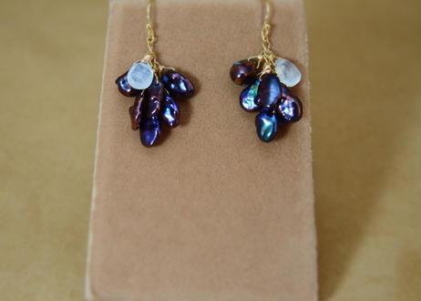 Black F.W.Pearl&WhiteLabradorite Prism Earrings