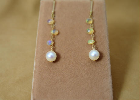 Opal&AkoyaPearl Earrings