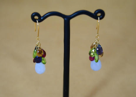 BlueChalcedony&ColorStone Chapeau Earrings