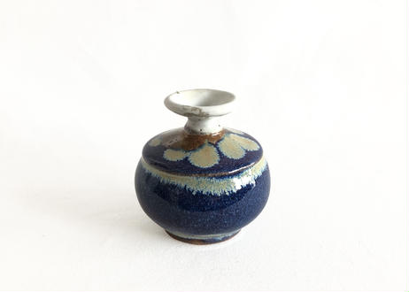 Dropping Blue Glaze Mini Vase