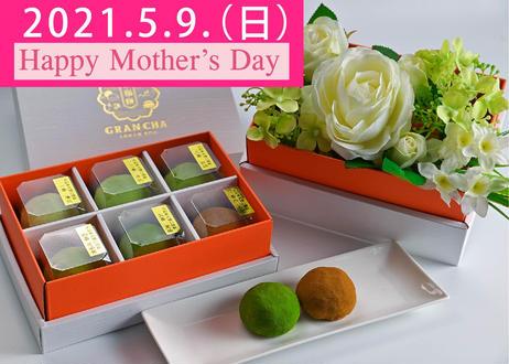 <2021年母の日特別セット>口福餅全種類6個入りとアーティフィシャルフラワー(造花)のセット 通常価格4290円を早期特別価格にて