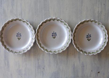 白釉 ファイアンス グリーンとブルー 野の花 絵付け デザート皿〖202107-32〗