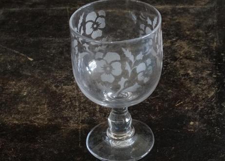 アンティークグラス パンジー柄 エッチング グラス 高さ13cm #1