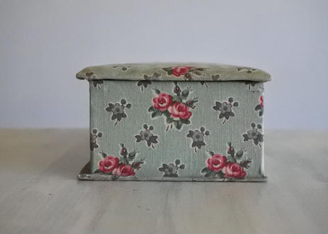 カルトナージュボックス BOX 水色 薔薇柄 24x10.1cm〖202104-08〗