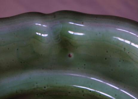 ヴィンテージ 緑釉 花リム デザート皿 #2〖202107-36〗