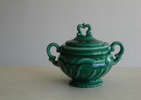 南仏陶器 緑釉のぽってりシュクリエ シュガーポット