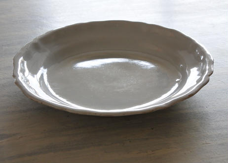 南仏陶器 白釉の 丸リム皿 直径23.2cm #1〖202101-14〗