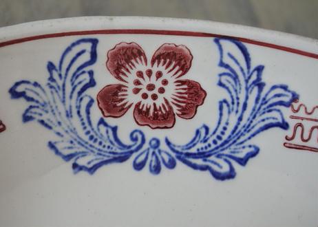 ラヴィエ オーヴァル型 サンタマン 赤いお花のステンシル柄〖202106-17〗