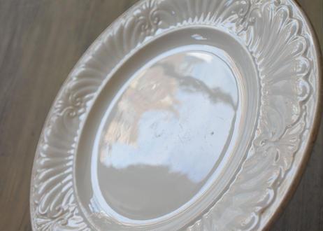 クレイユエモントロー 白い レリーフ デザート皿 #2〖202107-17〗
