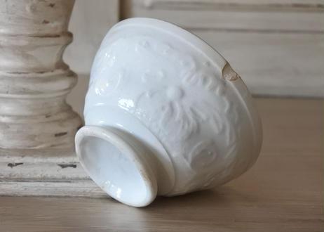 カフェオレボウル 小さな白いレリーフ プチボル 口径10.5cm〖202009-08〗