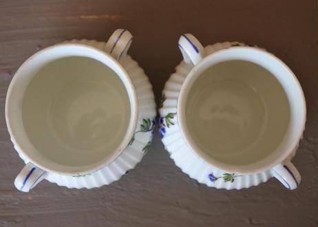 ピリヴィイ社 青いヤグルマギク ポーセリン製デザートカップ Cランク 2個セット〖202109-27〗
